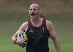 GUILDFORD, ENGLAND - AUGUST 08:  Head Coach Paul Gustard shouts directions and orders during the Harlequins Pre-Season Training Session at Surrey Sports Park on August 8, 2018 in Guildford, England.  (Photo by Christopher Lee/Getty Images for Harlequins FC)
