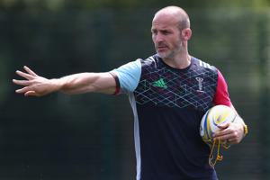 GUILDFORD, ENGLAND - JULY 19: The Harlequins Head of Rugby, Paul Gustard looks on during a Harlequins training session at Surrey Sports Park on July 19, 2018 in Guildford, England. (Photo by Steve Bardens/Getty Images)