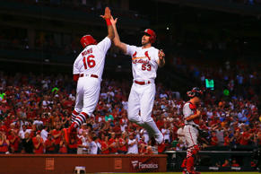 ST. LOUIS, MO - AUGUST 14:  John Gant #53 of the St. Louis Cardinals celebrates after hitting a two-run home run against the Washington Nationals second inning at Busch Stadium on August 14, 2018 in St. Louis, Missouri.  (Photo by Dilip Vishwanat/Getty Images)