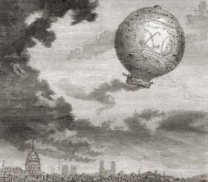 The first untethered balloon flight, by Jean-François Pilâtre de Rozier and the Marquis d'Arlandes on 21 November 1783 in a Montgolfier balloon. From Les Merveilles de la Science, published c.1870 (Photo by: Universal History Archive/UIG via Getty Images)