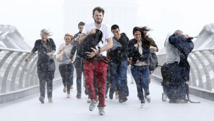 Pedestrians dash through torrential rain along the Millennium Bridge, Southwark, London, as the remnants of Hurricane Bertha swept across parts of the country.   (Photo by Jonathan Brady/PA Images via Getty Images)