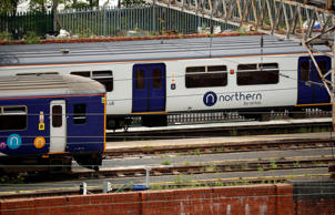 A Northern Rail train is parked at Stockport railway station in Stockport, Britain, 2018. REUTERS/Phil Noble