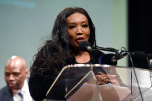 Former Generations actress and businesswoman Sophie Ndaba speaks during the SABC announcement on awarding of production contracts, new talent and content revamp on May 31, 2016 in Johannesburg, South Africa. SABC COO; Hlaudi Motsoeneng said he is confident that his 90% local content on all SABC television stations will work.