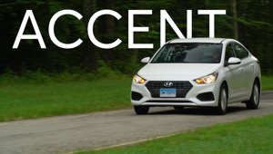 a car parked on the side of a road: 2018 Hyundai Accent Road Test