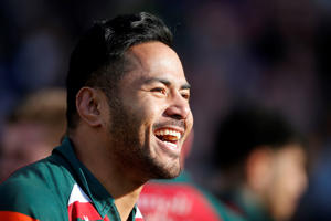 LEICESTER, ENGLAND - MARCH 25: Manu Tuilagi of Leicester Tigers reacts following the Aviva Premiership match between Leicester Tigers and Wasps at Welford Road on March 25, 2018 in Leicester, England. (Photo by Malcolm Couzens/Getty Images)