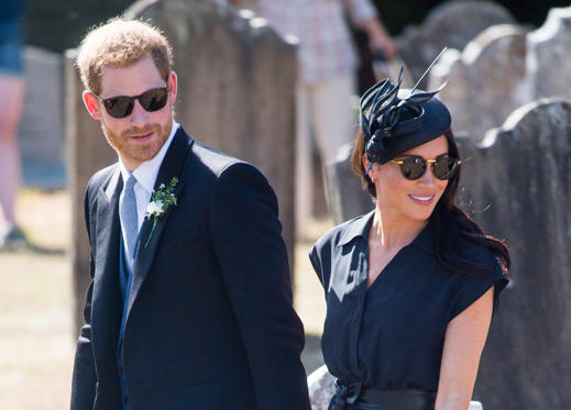 Slide 1 of 71: FRENSHAM, UNITED KINGDOM - AUGUST 04:  Prince Harry, Duke of Sussex and Meghan, Duchess of Sussex attend the wedding of Charlie Van Straubenzee on August 4, 2018 in Frensham, United Kingdom. Prince Harry attended the same prep school as Charlie van Straubenzee and have been good friends ever since.  (Photo by Samir Hussein/Samir Hussein/WireImage)