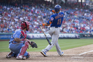 PHILADELPHIA, PA - AUGUST 16: Jose Bautista #11 of the New York Mets hits a grand slam in the top of the fifth inning against the Philadelphia Phillies in game one of the doubleheader at Citizens Bank Park on August 16, 2018 in Philadelphia, Pennsylvania. The Mets defeated the Phillies 24-4. (Photo by Mitchell Leff/Getty Images)