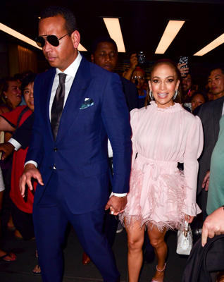 Alex Rodriguez and Jennifer Lopez leave NBC Studios at Rockefeller Center on Aug. 16,  in New York City.