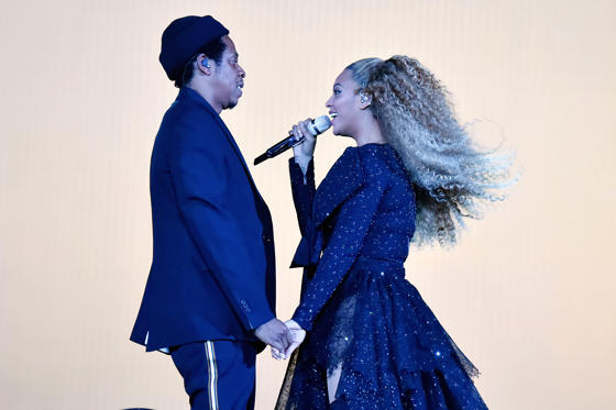 Slide 2 of 17: CARDIFF, WALES - JUNE 06: Jay-Z and Beyonce Knowles perform on stage during the 'On the Run II' tour opener at Principality Stadium on June 6, 2018 in Cardiff, Wales. (Photo by Kevin Mazur/Getty Images For Parkwood Entertainment)