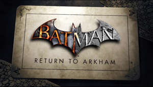 a close up of text on a black background: Return to two of the greatest superhero games of all time - visually enhanced and recreated for a new generation in Batman: Return to Arkham.  Includes Batman: Arkham Asylum and Batman: Arkham City and all previously released DLC.  Pre-order today: www.batmanreturntoarkham.com