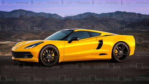 a yellow car parked on the side of a mountain: Mid-Engined Corvette