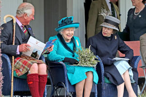Left to right) The Duke of Rothesay, Queen Elizabeth II and the Princess Royal during the Braemar Royal Highland Gathering at the Princess Royal and Duke of Fife Memorial Park, Braemar. The Gathering has been run in its present form since 1832. Provided by PA