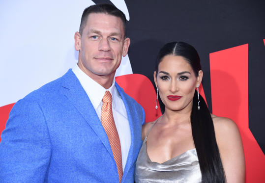 "Slide 1 of 55: Cast member John Cena (L) and Nikki Bella attend the premiere of ""Blockers"" in Los Angeles, California, U.S. April 3, 2018. REUTERS/Phil McCarten"