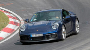 a car parked on the side of a road: Porsche 911 Nürburgring spy photo