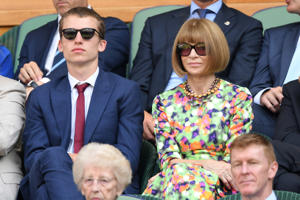 Luke Wintour and Anna Wintour attend day eleven of the Wimbledon Tennis Championships at the All England Lawn Tennis and Croquet Club on July 13, 2018 in London, England. (Photo by Karwai Tang/WireImage)