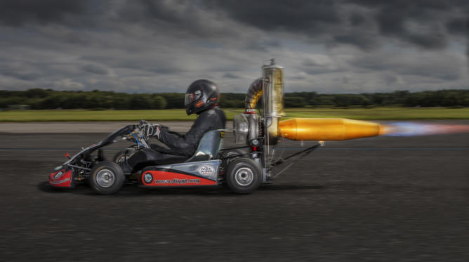 Slide 2 of 30: Tom Bagnall - Fastest Jet Powered Go Kart Guinness World Records 2017 Photo Credit: Richard Bradbury/Guinness World Records