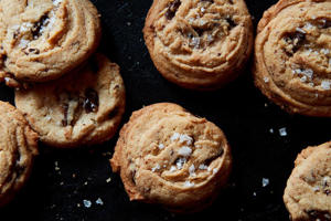 a close up of food: Danielle Oron's Salted Tahini Chocolate Chip Cookies