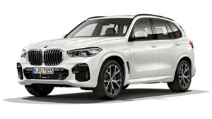 a car parked on the side of a road with Holden Arboretum in the background: 2019 BMW X5 xDrive45e