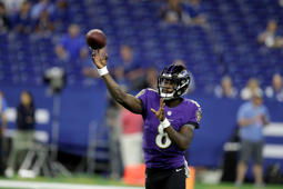 Baltimore Ravens quarterback Lamar Jackson (8) warms up before an NFL preseason football game against the Indianapolis Colts in Indianapolis, Monday, Aug. 20, 2018. (AP Photo/Darron Cummings)
