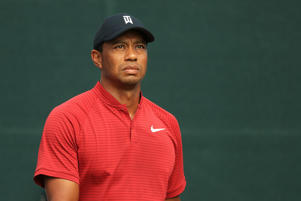 Tiger Woods of the United States looks on during the final round of The Northern Trust on August 26, 2018 at the Ridgewood Championship Course in Ridgewood, New Jersey.