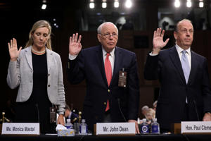 John Dean, former Nixon White House counsel, is sworn in with other witnesses to testify on the fourth day of Senate Judiciary Committee confirmation hearings for U.S. Supreme Court nominee Judge Brett Kavanaugh on Capitol Hill in Washington, U.S., September 7, 2018.