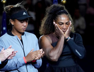 Sept 8, 2018; New York, NY, USA;   Serena Williams of the USA (right) cries while standing next to Naomi Osaka of Japan at the trophy presentation after the women's final on day thirteen of the 2018 U.S. Open tennis tournament at USTA Billie Jean King National Tennis Center. Mandatory Credit: Robert Deutsch-USA TODAY Sports - 11209114