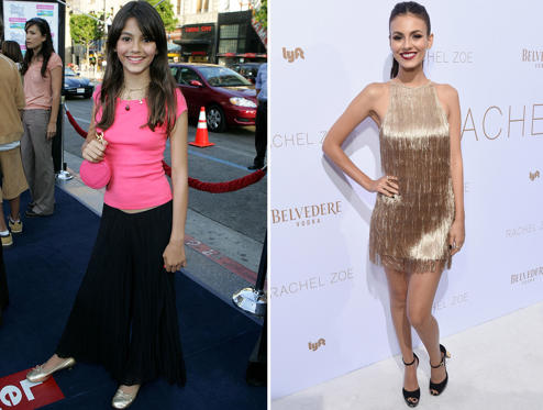 Slide 1 of 45: Actress Victoria Justice arrives at the premiere of 'The Sisterhood of the Traveling Pants' at The Grauman's Chinese Theatre on May 31, 2005 in Hollywood, California. / Belvedere Vodka Celebrates The Rachel Zoe Spring/Summer 2019 Presentation with Victoria Justice at Hotel Bel Air on September 4, 2018 in Los Angeles, California.