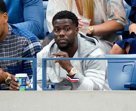 Slide 3 of 63: Kevin Hart at the 2018 US Open Women's Championship Game on September 8, 2018 in New York City.