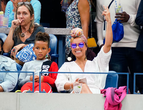 Slide 4 of 63: Alicia Keys and Egypt Dean at the 2018 US Open Women's Championship Game on September 8, 2018 in New York City.