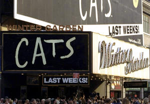 Crowds outside the Winter Garden Theatre during the final weeks of 'Cats,' the longest-running play on Broadway