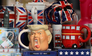 A tankard depicting the face of U.S. President, Donald Trump, is displayed in a souvenir shop in central London, Britain July 11, 2018.  REUTERS/Simon Dawson