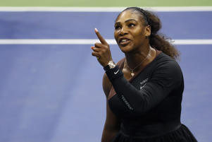 Serena Williams of the United States argues with umpire Carlos Ramos during her Women's Singles finals match