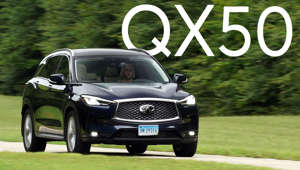 a car parked in the grass: 2019 Infiniti QX50 Road Test