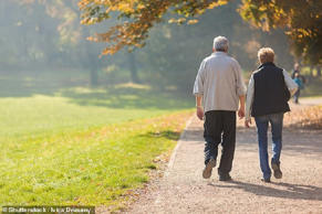 A daily walk could reduce the risk of older people having a severe stroke, a study has found (stock picture)
