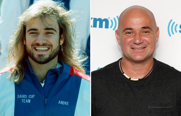Slide 1 of 45: KANSAS CITY - SEPTEMBER 20: Andre Agassi of the USA is seen before the Davis Cup between US and Germany on September 20, 1991 in Kansas City, United States. (Photo by Bongarts/Getty Images); NEW YORK, NY - SEPTEMBER 05: Andre Agassi visits the SiriusXM Studios on September 5, 2018 in New York City. (Photo by Taylor Hill/Getty Images)