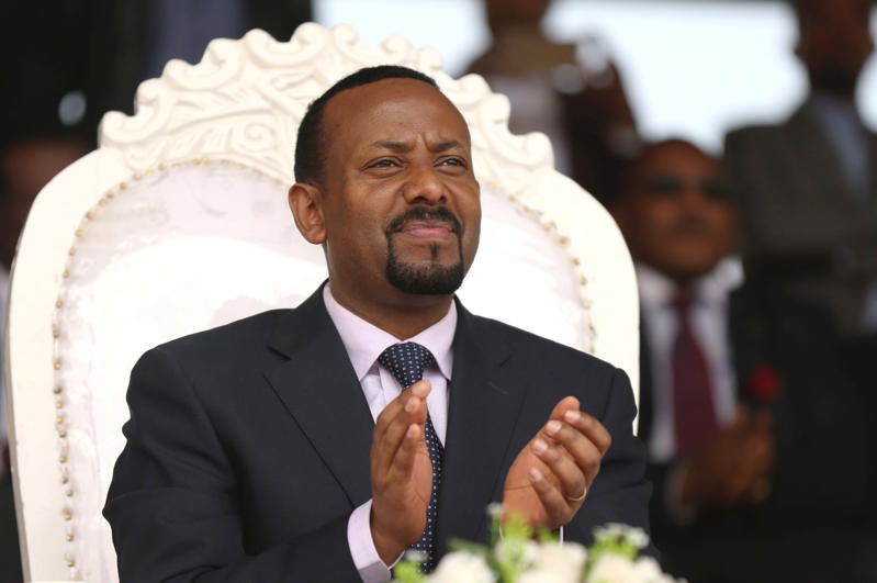 Ethiopia's newly elected prime minister Abiy Ahmed attends a rally during his visit to Ambo in the Oromiya region, Ethiopia April 11, 2018. REUTERS/Tiksa Negeri