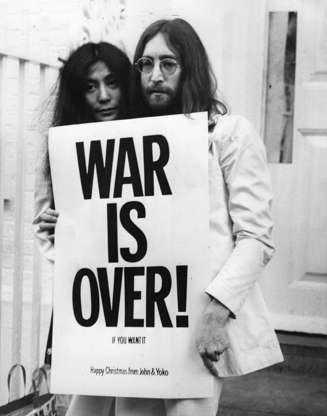Slide 49 of 110: Combine the counterculture movement with holiday cheer and you'll get the 1971 Vietnam protest song