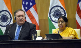 Indian External Affairs Minister Sushma Swaraj with US Secretary of State Mike Pompeo during a joint statement after a meeting at Ministry of External Affairs in Jawaharlal Nehru Bhawan on September 6, 2018 in New Delhi, India. The United States and India signed the high-level COMCASA defence agreement today that will allow India to buy advanced American military hardware.