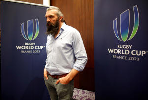 Former French national team rugby player Sebastien Chabal poses after a news conference on the 2023 Rugby World Cup hosted by France