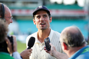 England's Alastair Cook speaks to the media at the end of play