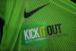 LEICESTER, ENGLAND - SEPTEMBER 11: A detail view of a Kick It Out players bib during the International Friendly match between England and Switzerland at The King Power Stadium on September 11, 2018 in Leicester, United Kingdom. (Photo by Robbie Jay Barratt - AMA/Getty Images)