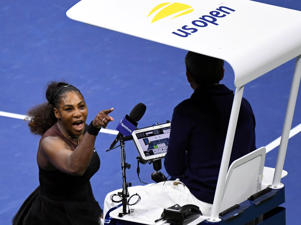 Sep 8, 2018; New York, NY, USA; Serena Williams of the United States yells at chair umpire Carlos Ramos in the women's final against Naomi Osaka of Japan on day thirteen of the 2018 U.S. Open tennis tournament at USTA Billie Jean King National Tennis Center. Mandatory Credit: Danielle Parhizkaran-USA TODAY SPORTS      TPX IMAGES OF THE DAY