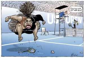 "This Mark Knight's cartoon published by the Herald Sun depicts Serena Williams as an irate, hulking, big-mouthed black woman jumping up and down on a broken racket. The umpire was shown telling a blond, slender woman — meant to be Naomi Osaka, who is actually Japanese and Haitian — ""Can you just let her win?"" (Mark Knight/Heral Sun-News Corp. via AP)"
