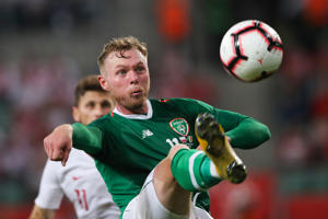 WROCLAW, POLAND - SEPTEMBER 11: Aiden O'Brien of Republic of Ireland in action during the international friendly match between Poland and Republic of Ireland at the Stadion Miejski on September 11, 2018 in Wroclaw, Poland. (Photo by Matthew Ashton - AMA/Getty Images)