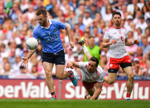 Jack McCaffrey of Dublin gets away from Colm Cavanagh of Tyrone during the GAA Football All-Ireland Senior Championship Final match between Dublin and Tyrone at Croke Park in Dublin. (Photo By Brendan Moran/Sportsfile via Getty Images)