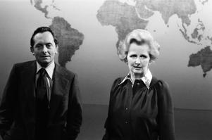 Margaret Thatcher, Leader of the Conservative Party, who is being interviewed by Brian Walden for London Weekend Television Weekend World programme, 18th September 1977. (Photo by Arthur Sidey/Mirrorpix/Getty Images)