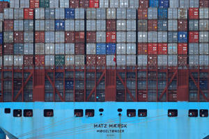 Containers sit on the deck of a ship waiting to be unloaded in the harbor of Rotterdam, Netherlands, Tuesday, Sept. 11, 2018, during a press tour showing the implications of Brexit on the delivery of goods and supply chain. (AP Photo/Peter Dejong)