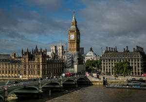 LONDON, ENGLAND - SEPTEMBER 13:  Parliament's Big Ben clock tower undergoes a major renovation as viewed from the London Eye on September 13, 2017, in London, England. Great Britain's move toward 'Brexit,' or the departure from the European Union, has not deterred the late summer crowds visiting city museums, hotels, and other important tourist attractions. (Photo by George Rose/Getty Images)