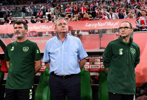 Republic of Ireland manager Martin O'Neill, right, assistant coach Steve Walford, centre, and assistant manager Roy Keane during the International Friendly match between Poland and Republic of Ireland at the Municipal Stadium