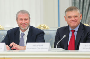 Businessman Roman Abramovich (L) and Evraz Group Chairman of the Board Alexander Abramov ahead of a meeting of Russia's President Vladimir Putin with Russian business community representatives, at the Moscow Kremlin. Sergei Savostyanov/TASS (Photo by Sergei Savostyanov\TASS via Getty Images)